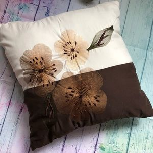 Very Detailed Floral Embroidered Square Pillow